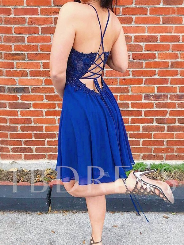 Appliques Short Sleeves Knee-Length Spaghetti Straps Homecoming Dress 2019