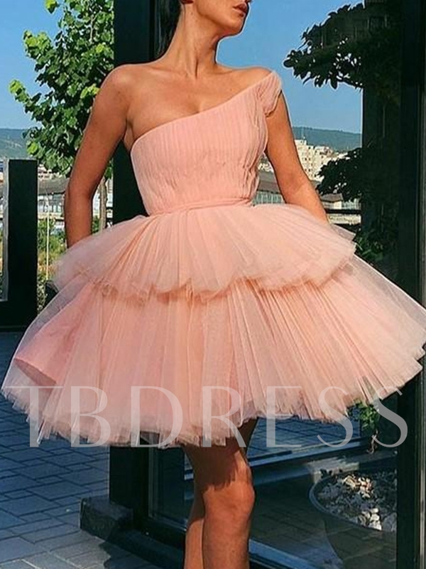 Sleeveless One Shoulder A-Line Short Homecoming Dress 2019