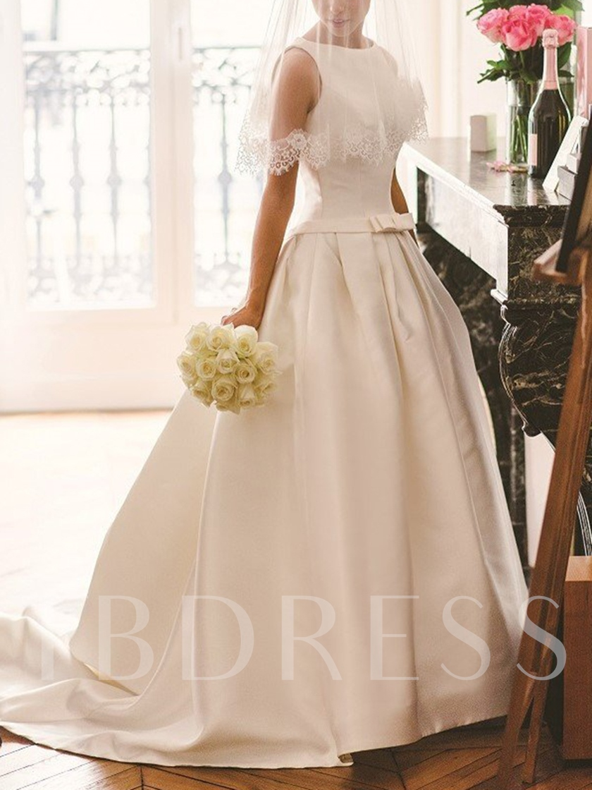 Bateau Neck Bowknot Button Church Wedding Dress 2019