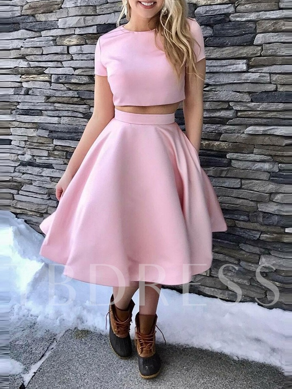 Tea-Length A-Line Scoop Sleeveless Homecoming Dress 2019