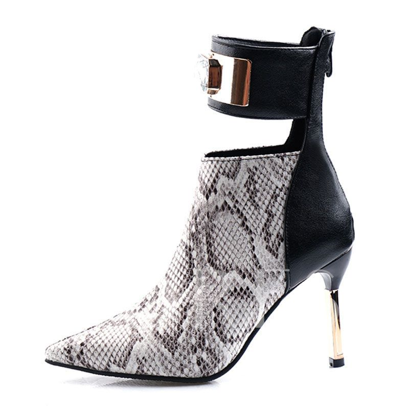 Back Zip Serpentine Stiletto Heel Pointed Toe Ankle Boots