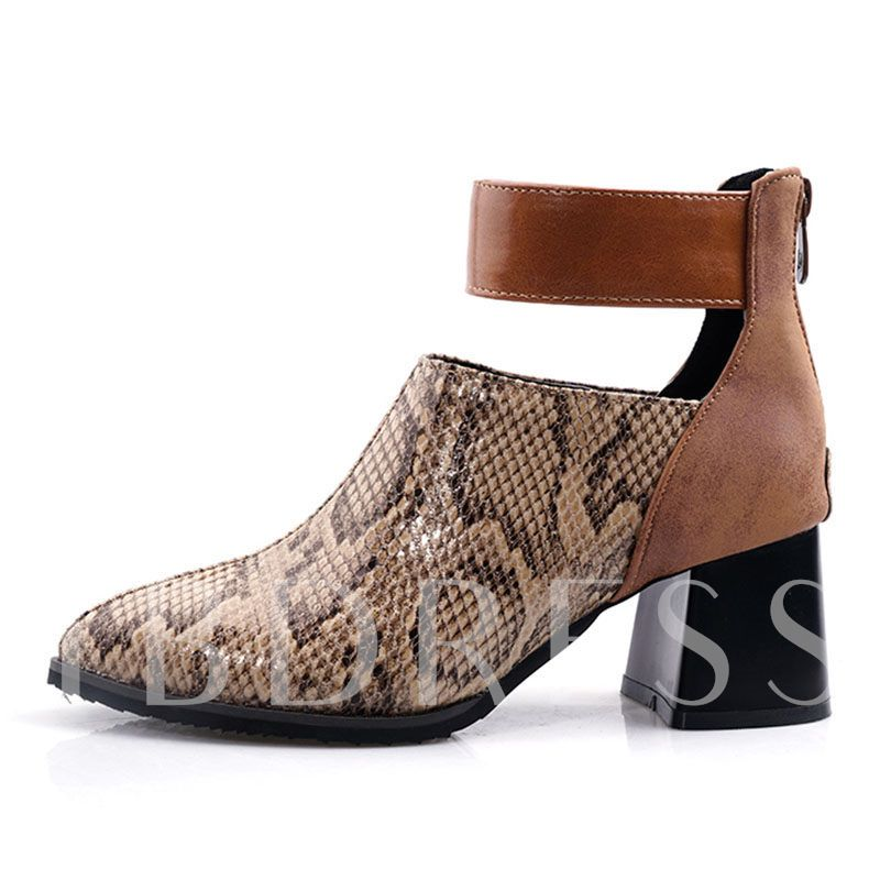 Round Toe Chunky Heel Color Block Back Zip Serpentine Ankle Boots