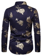 Lapel Floral Print Fashion Single-Breasted Long Sleeves Spring Men's Shirt