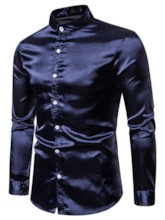 Skin-Friendly Breathable Stand Collar Plain Button Casual Single-Breasted Long Sleeves Men's Shirt