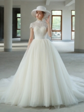 High Neck Short Sleeves Lace Church Wedding Dress 2019