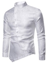 Fashion Irregular Design Skin-Friendly Breathable Stand Collar Plain Long Sleeves Slim Men's Shirt