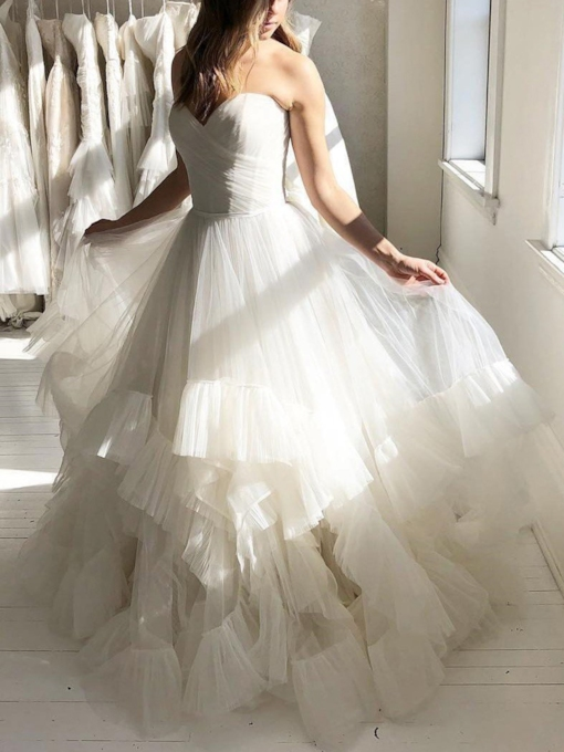 Ball Gown Sweetheart Cascading Ruffles Wedding Dress 2019