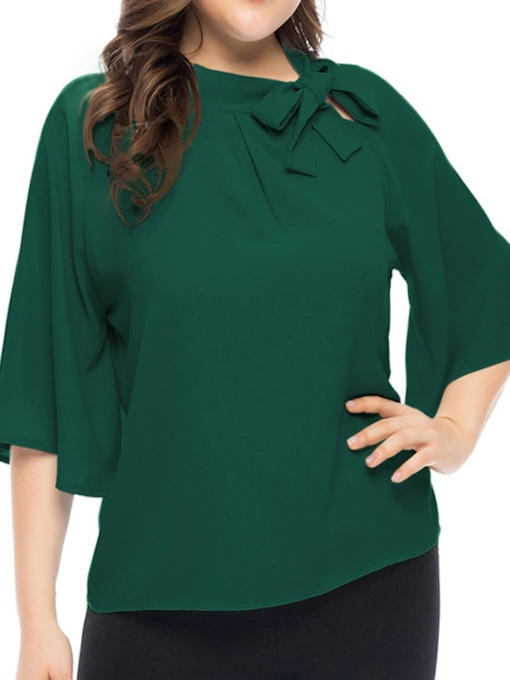 Plus Size Bowknot Plus Size Plain Standard Women's Blouse