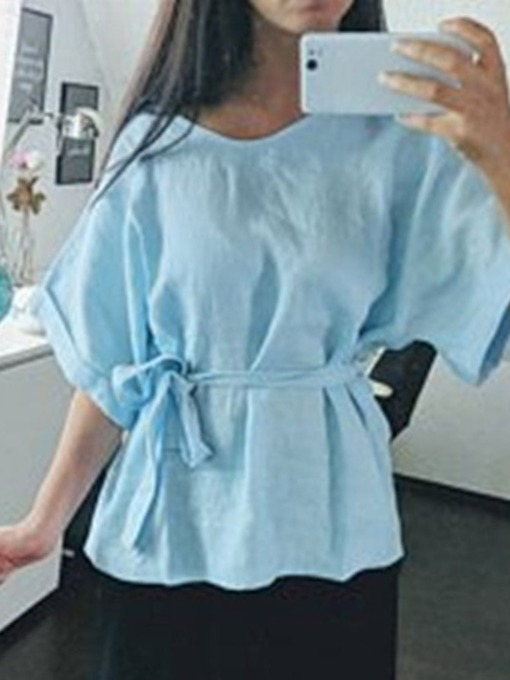Plain Belt Short Sleeve Women's Blouse