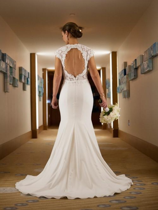 Cap Sleeves Backless Lace Mermaid Wedding Dress 2019
