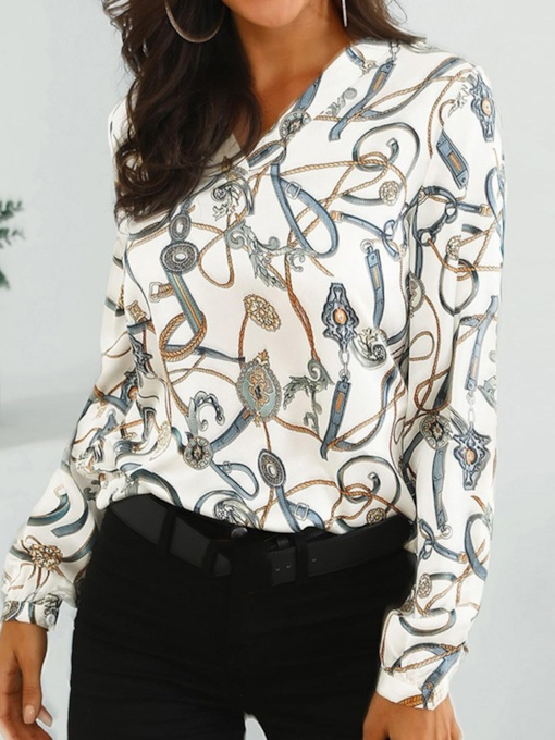 V-Neck Color Block Print Long Sleeve Slim Women's Blouse