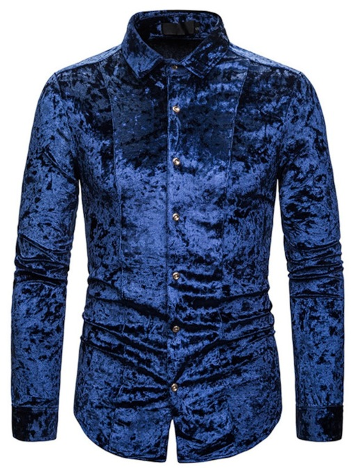 Polyester Plain Fashion Single-Breasted Lapel Button Slim Men's Shirt