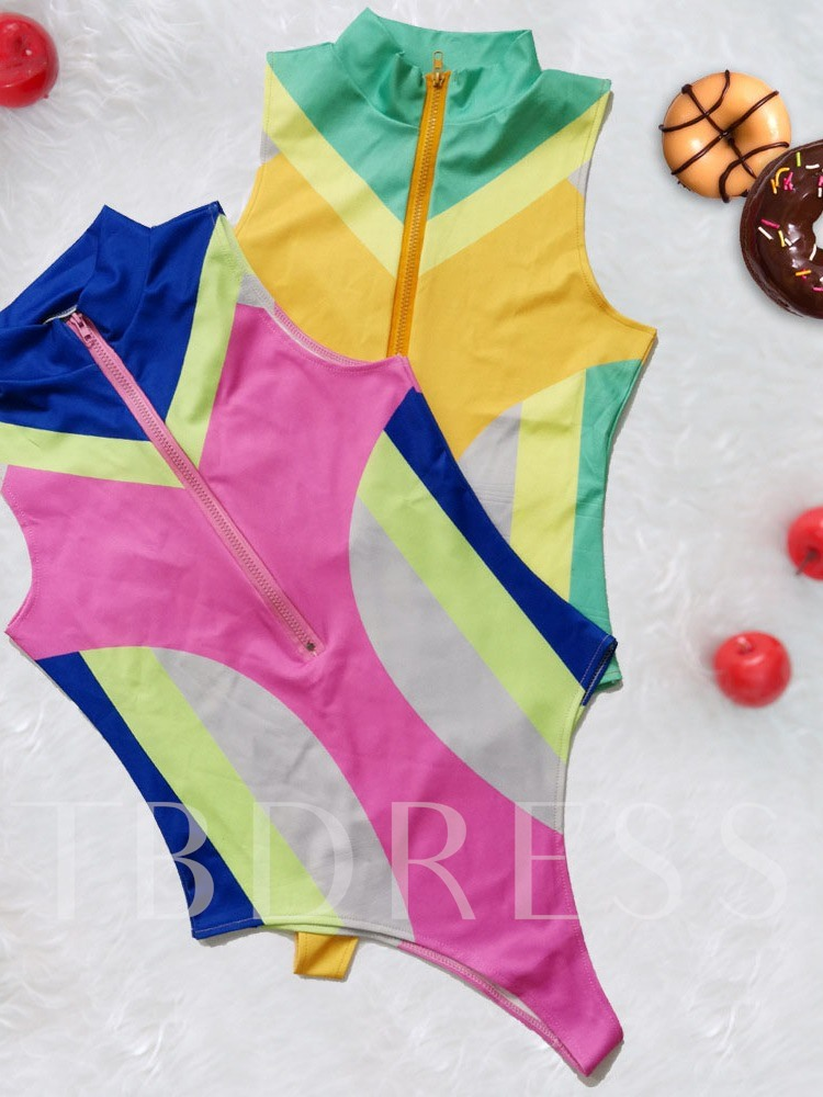 Beach Look One Piece Print Color Block Women's Swimwear