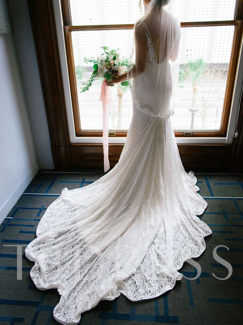 V-Neck Mermaid Lace Wedding Dress 2019