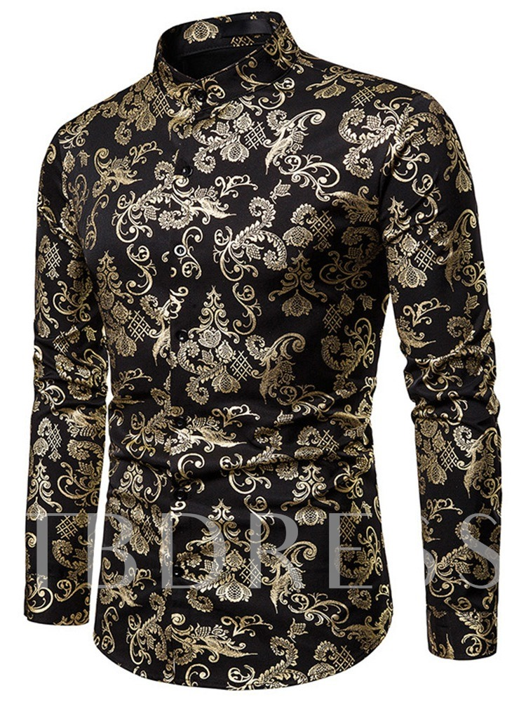 Floral Print Long Sleeves Button Stand Collar Fashion Color Block Single-Breasted Men's Shirt