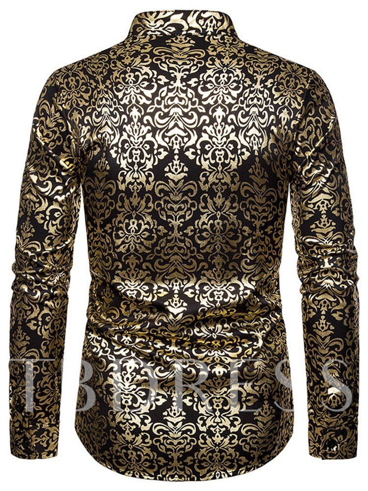 Luxury Print Stand Collar Fashion Button Color Block Spring Long Sleeves Men's Shirt