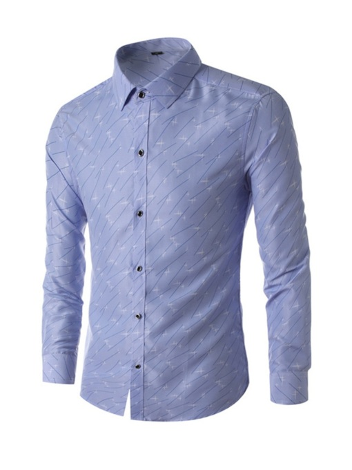 Fashion Casual Solid Print Color Block Lapel Single-Breasted Business Long Sleeves Men's Shirt