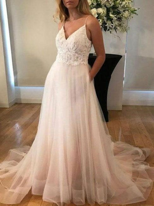 Spaghetti Straps Pockets Lace Beach Wedding Dress 2019