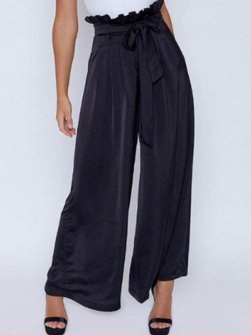 Stringy Selvedge Plain Loose Full Length Women's Casual Pants