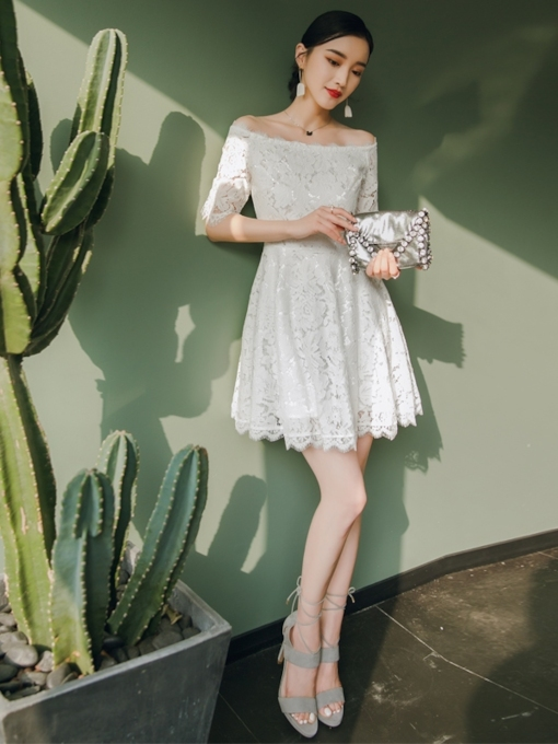 A-Line Short Off-The-Shoulder Lace Homecoming Dress 2019