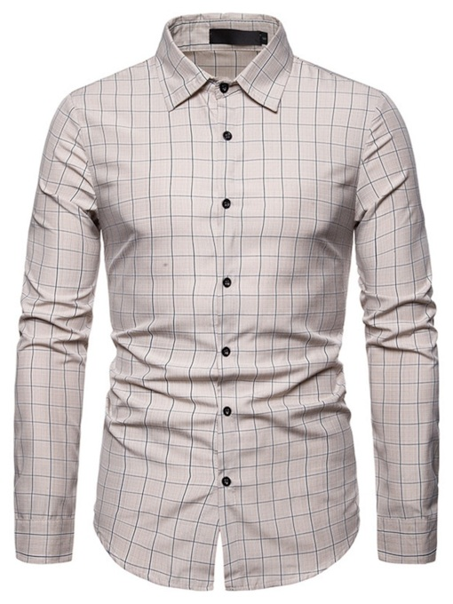 Men's Business Casual New Long-Sleeved Shirt Plaid Lapel Button Slim Men's Shirt