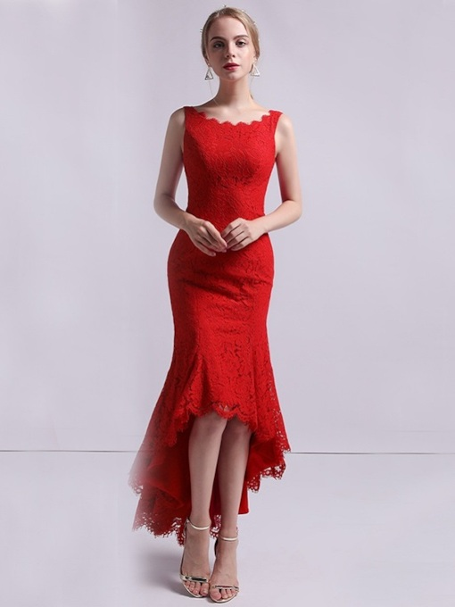 Lace Sleeveless Trumpet Asymmetry Evening Dress 2019