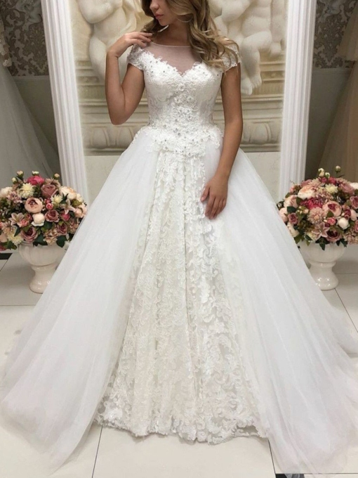 Cap Sleeves Ball Gown Beading Lace Wedding Dress 2019