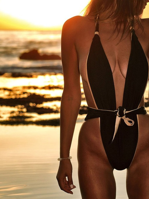 Lace-Up Beach Look Color Block One Piece Women's Swimwear