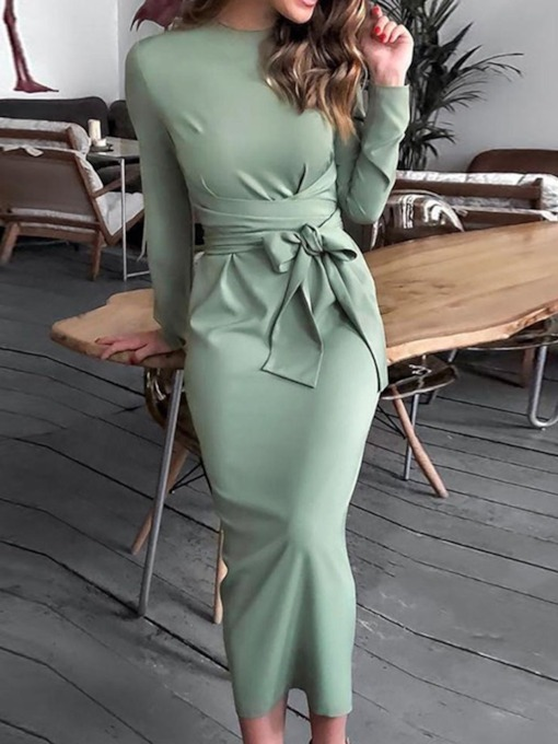 Lace-Up Long Sleeve Round Neck Mid Waist Women's Maxi Dress