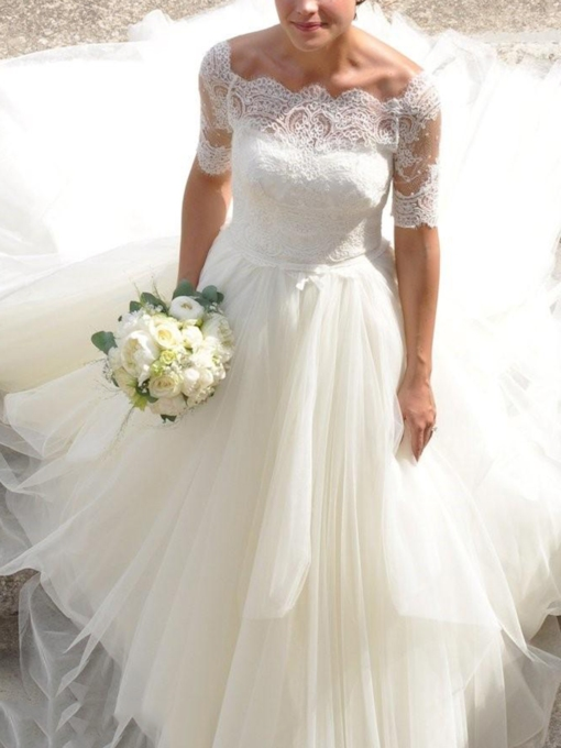 Ball Gown Scalloped-Edge Neck Lace Wedding Dress 2019