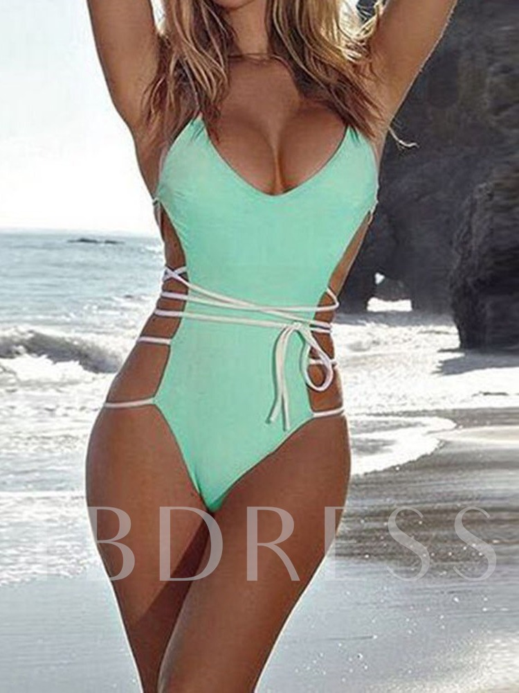 Lace-Up Color Block Beach Look One Piece Women's Swimwear