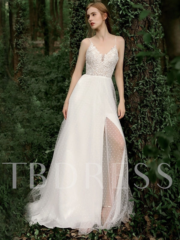 Spaghetti Straps Appliques Country Wedding Dress 2019