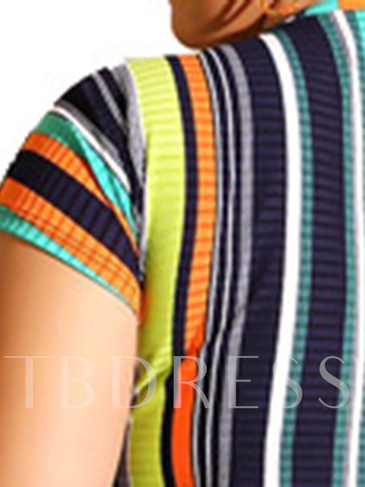 Plus Size Casual Stripe T-Shirt Patchwork Round Neck Women's Two Piece Sets
