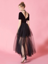 Ankle-Length Short Sleeves A-Line Prom Dress 2019