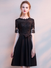 Scoop Short Sleeves Lace Knee-Length Homecoming Dress 2019