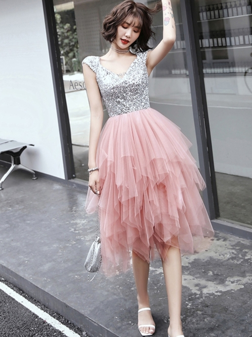V-Neck Pick-Ups Cap Sleeves Asymmetry Homecoming Dress 2019