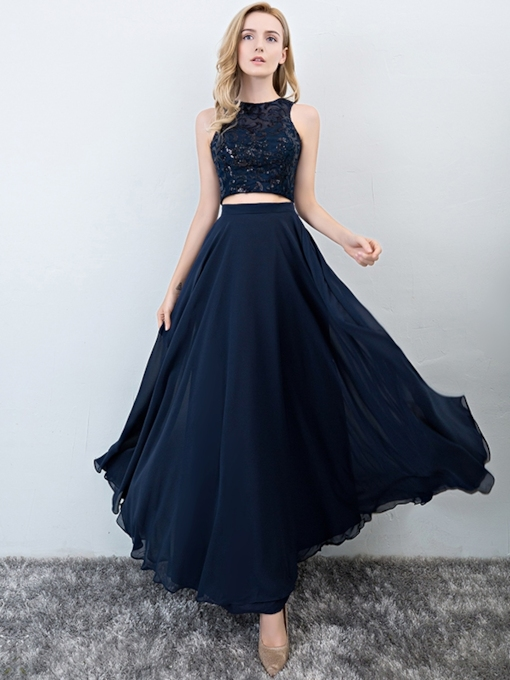 A-Line Floor-Length Scoop Sleeveless Prom Dress 2019