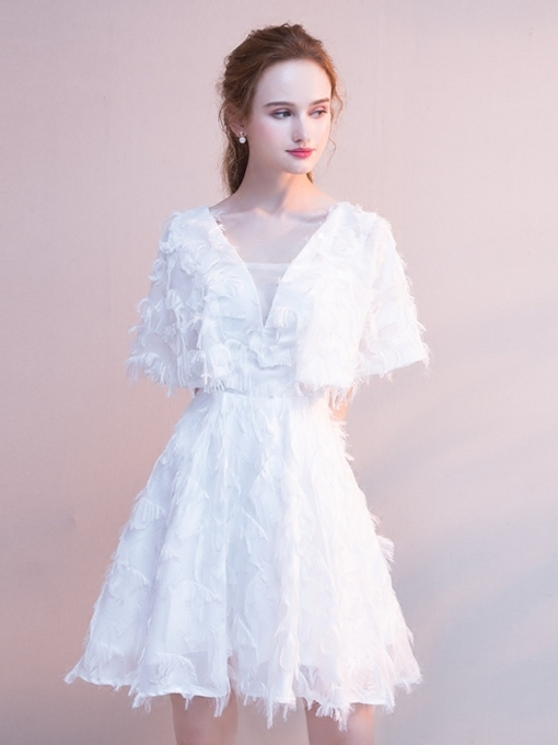 Short Sleeves Lace Square Short Homecoming Dress 2019