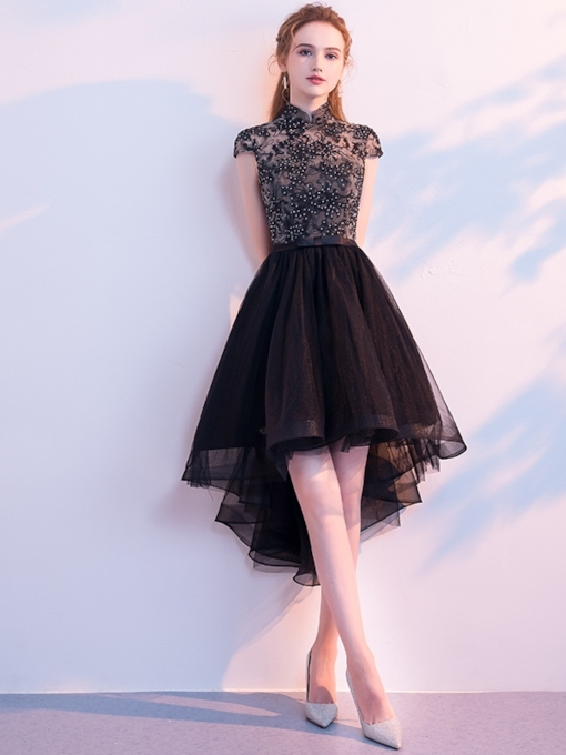 Beading A-Line Asymmetry High Neck Homecoming Dress