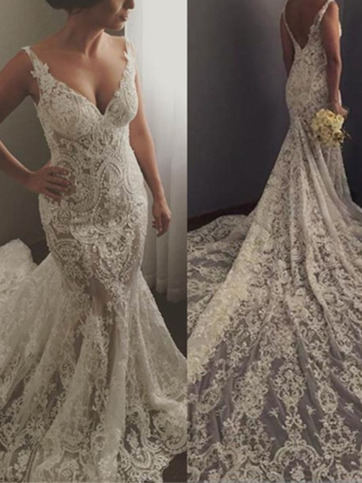 Straps Appliques Mermaid Lace Wedding Dress 2019