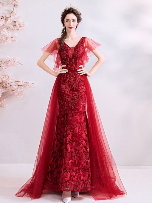 Lace Trumpet Straps Floor-Length Evening Dress 2019