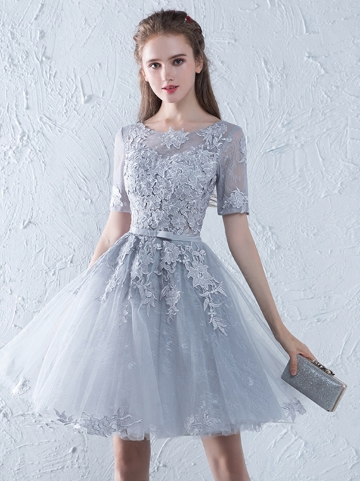 Bowknot Scoop Short Sleeves Short Homecoming Dress 2019
