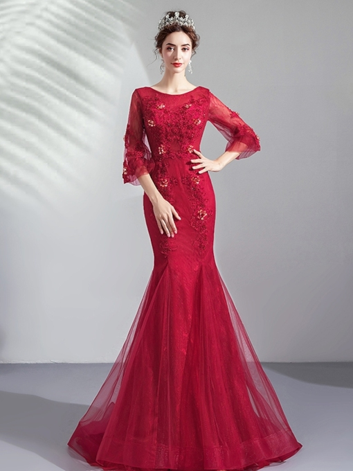 Appliques Scoop Floor-Length Trumpet Evening Dress 2019