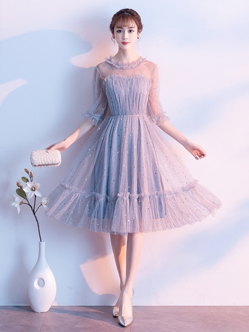 A-Line Jewel Tea-Length Beading Homecoming Dress 2019