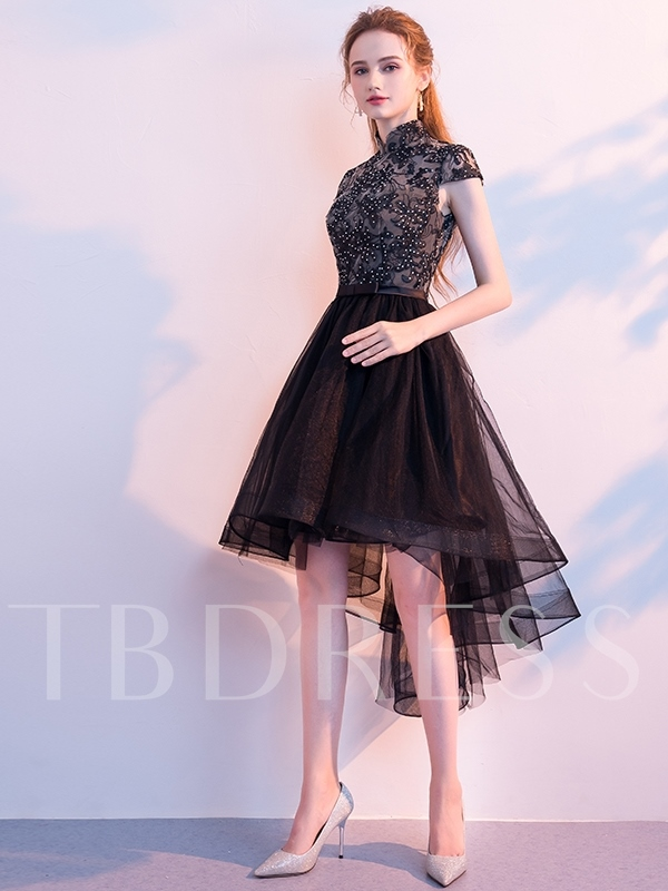 Beading A-Line Asymmetry High Neck Homecoming Dress 2019
