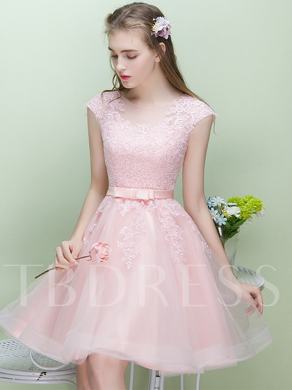 Short Sashes Scoop A-Line Homecoming Dress 2019