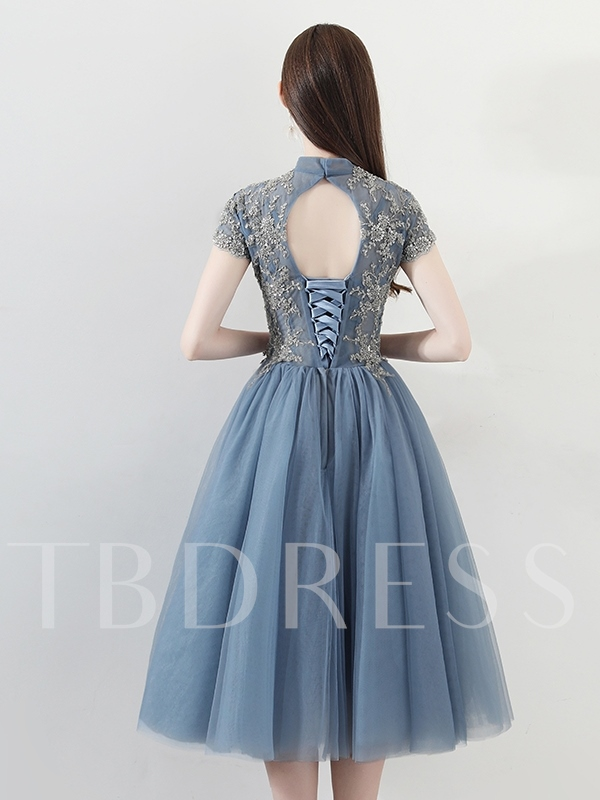 High Neck A-Line Short Sleeves Appliques Homecoming Dress 2019