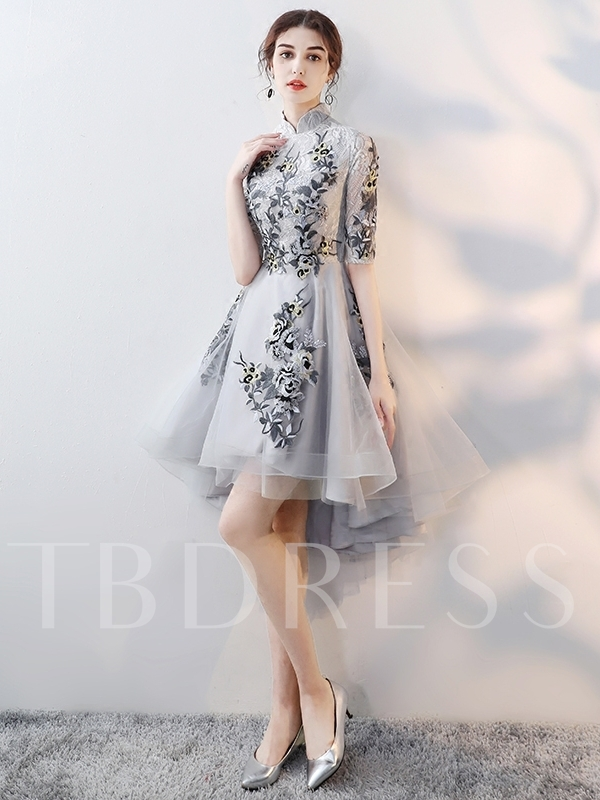 A-Line Asymmetry High Neck Appliques Homecoming Dress 2019