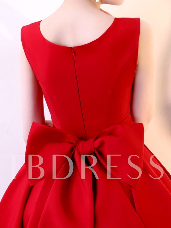 Sleeveless Bowknot A-Line Scoop Homecoming Dress 2019