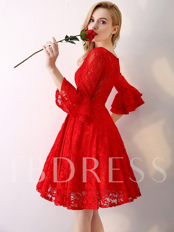 Knee-Length Sashes A-Line Scoop Homecoming Dress 2019